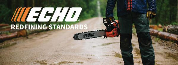 Echo logo and man carrying chainsaw