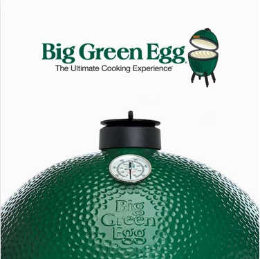 Big Green Egg logo next to grill - The Ultimate Cooking Experience